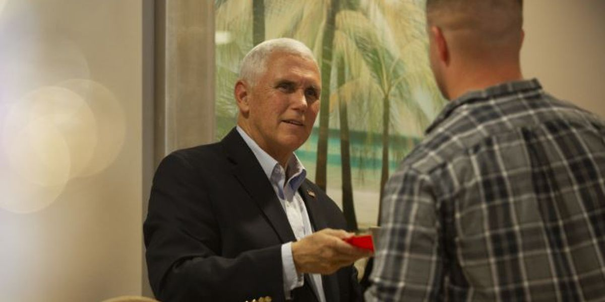 VP Mike Pence makes surprise Thanksgiving visit to Marines at Air Station Beaufort