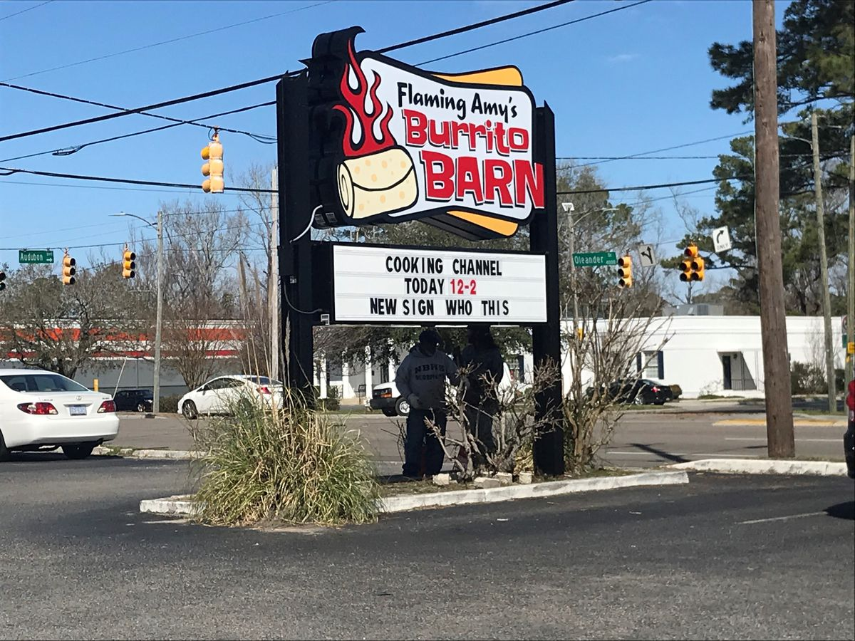 Man v. Food films at Flaming Amy's Burrito Barn