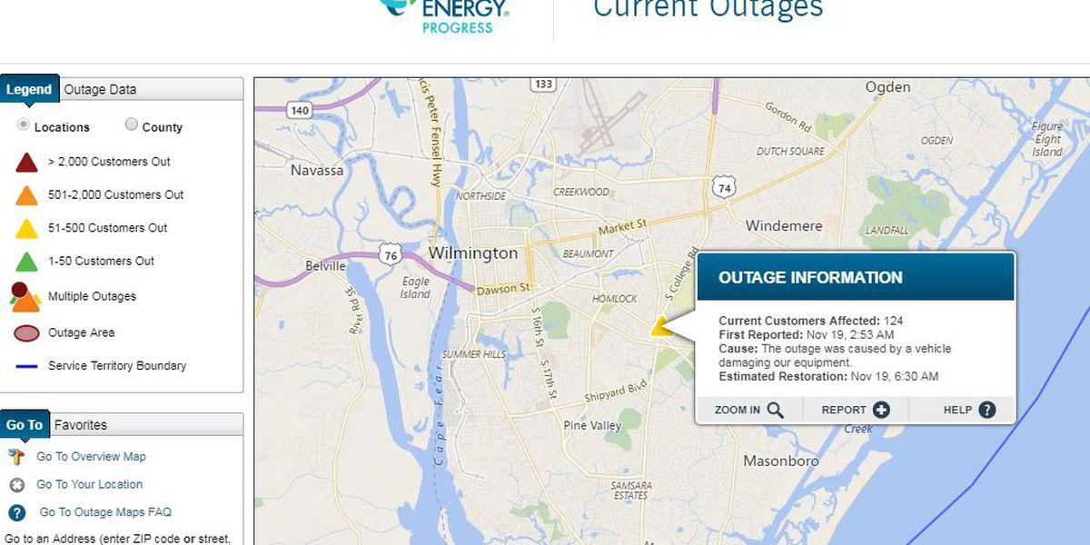 Wreck causes power outage near S. College Road-Wrightsville Ave.