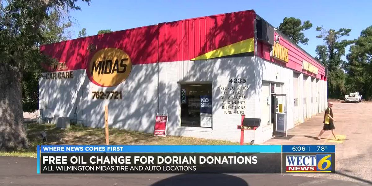 Wilmington auto shop gives free oil changes for Dorian donations