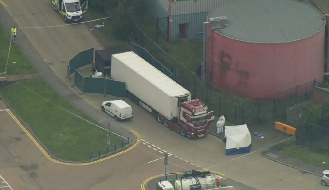 39 people found dead in truck container in southeast England