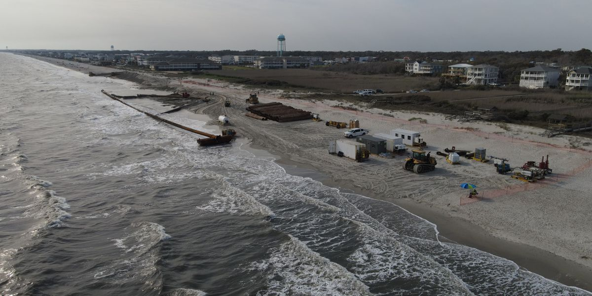 Oak Island beach renourishment project moving smoothly, set to wrap up April 30