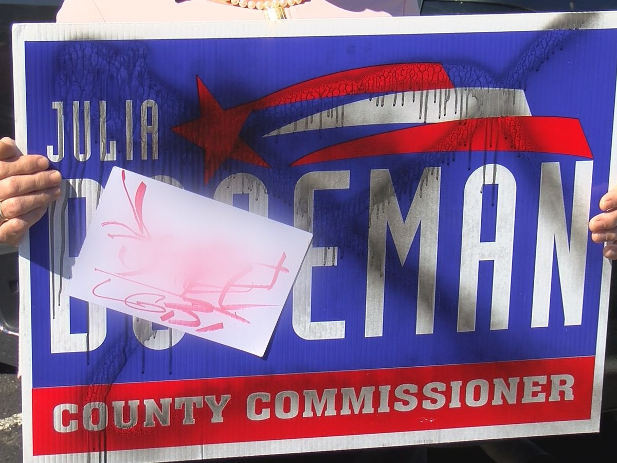 Candidate's campaign signs defaced with hate speech