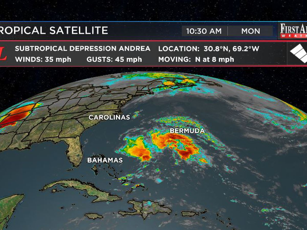 Andrea, the first Atlantic tropical system of 2019, weakening near Bermuda