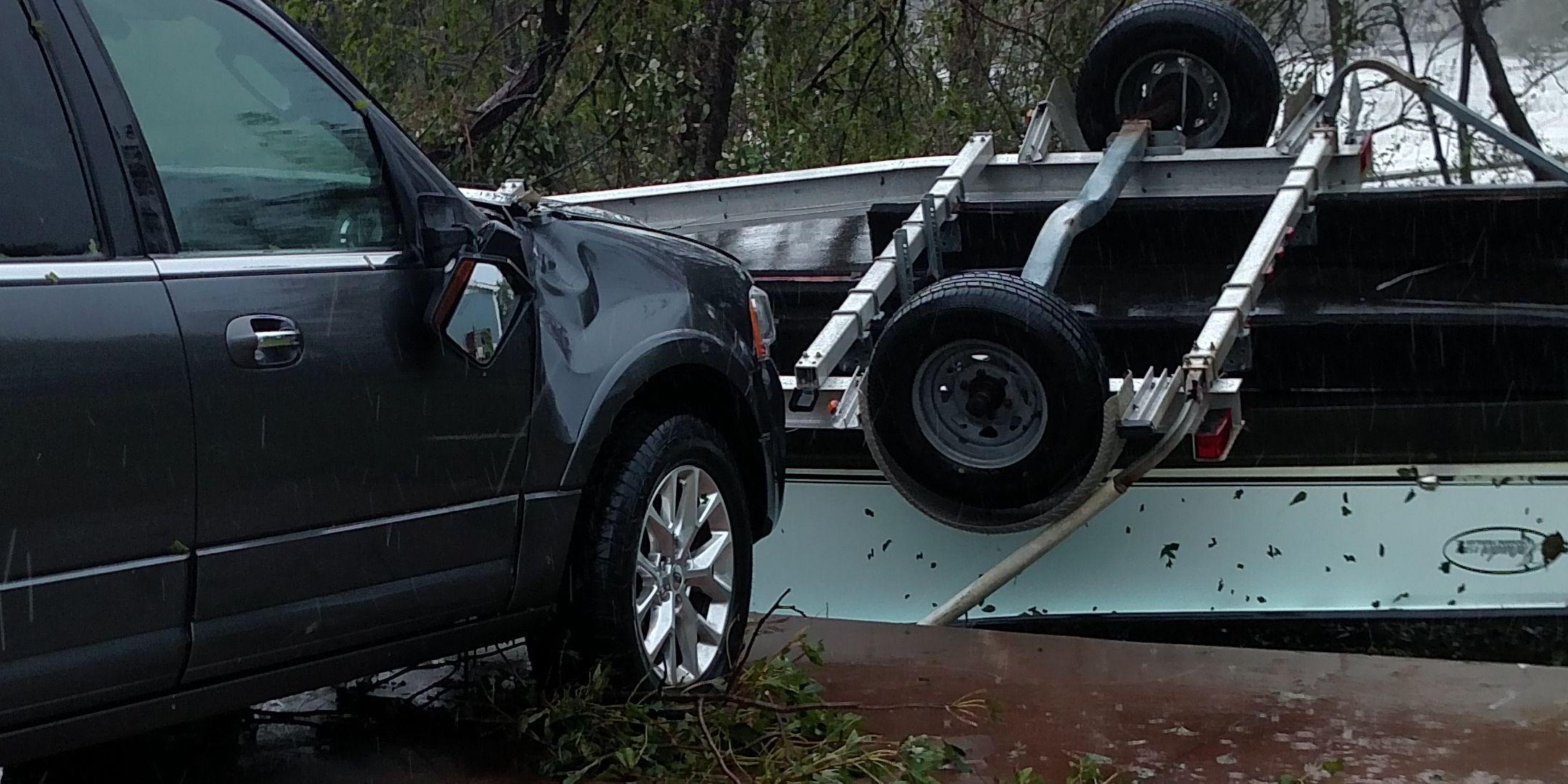 Confirmed tornado flips boat dock during Hurricane Florence