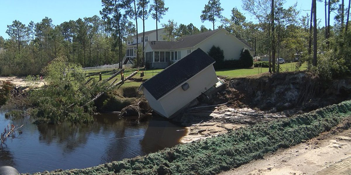 Boiling Spring Lakes man loses one third of his yard