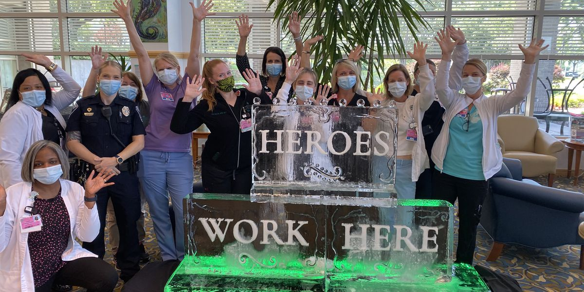 Cool way to show appreciation: 'Heroes Work Here' ice sculpture delivered to hospital