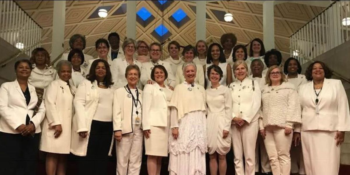 Democratic women of the NC General Assembly wear white to show growing number of female lawmakers