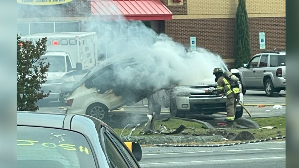 NC chase ends with car crashing, going airborne, landing on truck and bursting into flames