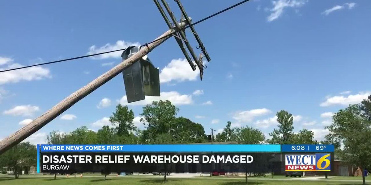 Disaster relief organization's warehouse damaged in Sunday storm