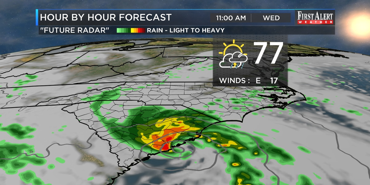 First Alert Forecast: midweek downpours, storms brush across Carolinas