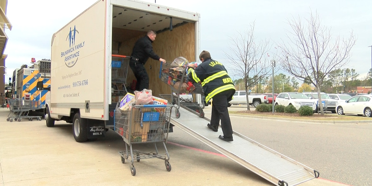 Leland first responders exceed goal to 'fill the fire truck' with non-perishable items