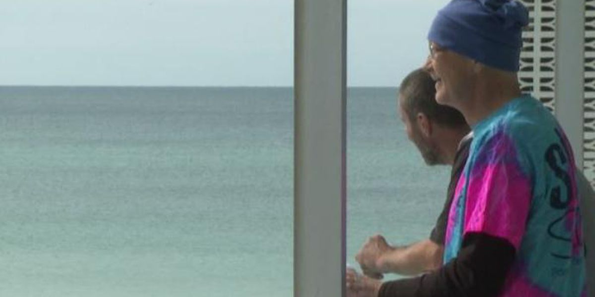 Man battling terminal cancer visits the beach for the first time