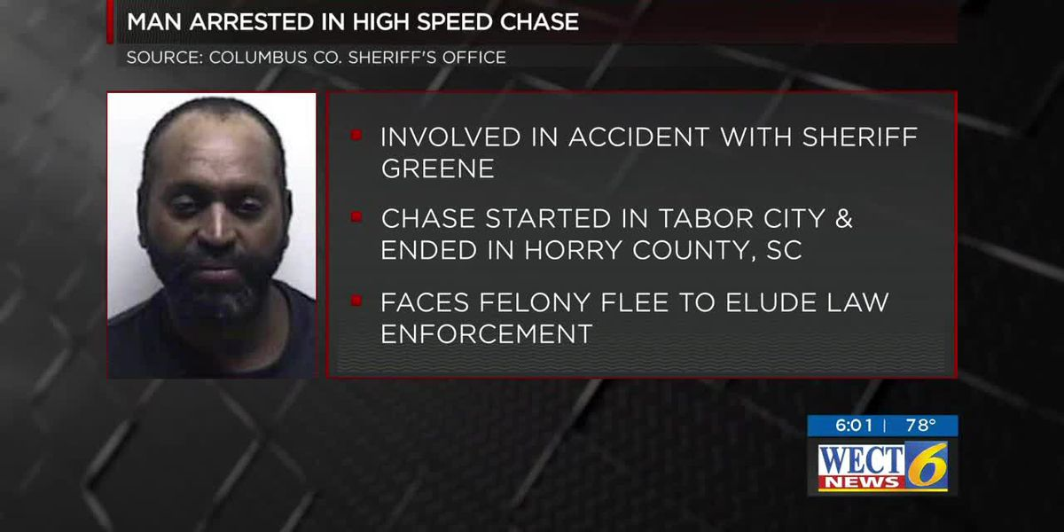 Columbus County Sheriff's vehicle involved in crash after car chase