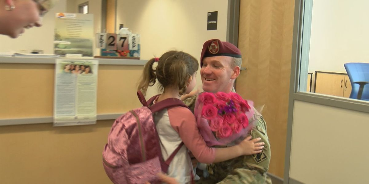 Reunited: Dad returning from deployment surprises 5-year-old daughter at Columbus County school