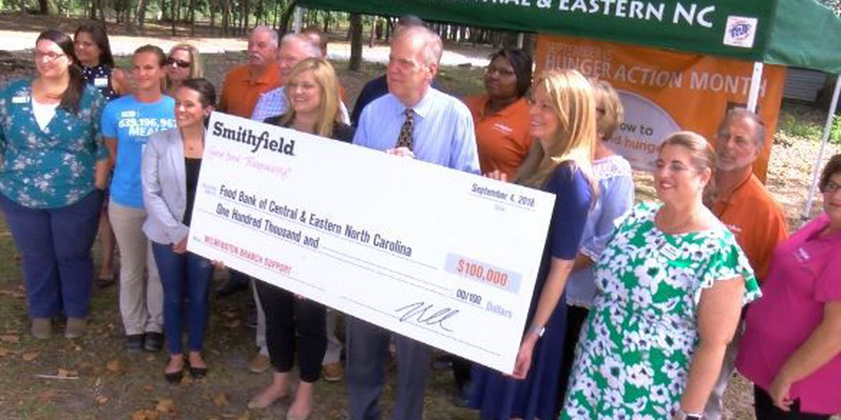 Smithfield gives Wilmington food bank $100,000