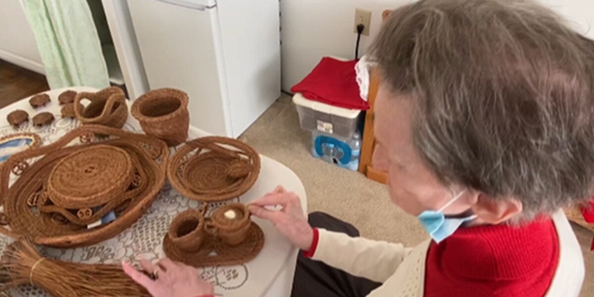 """It's a lost art, nobody wants to do it"": Independent living facility resident makes baskets from pine needles"