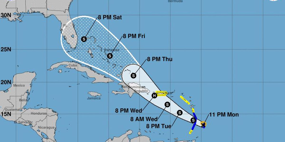 Tropical Storm Dorian continues west, threatens the Caribbean islands