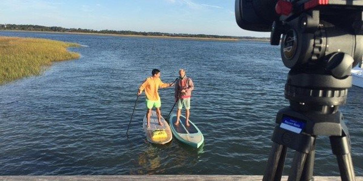 Halloween morning brings paddleboarders to Wrightsville Beach
