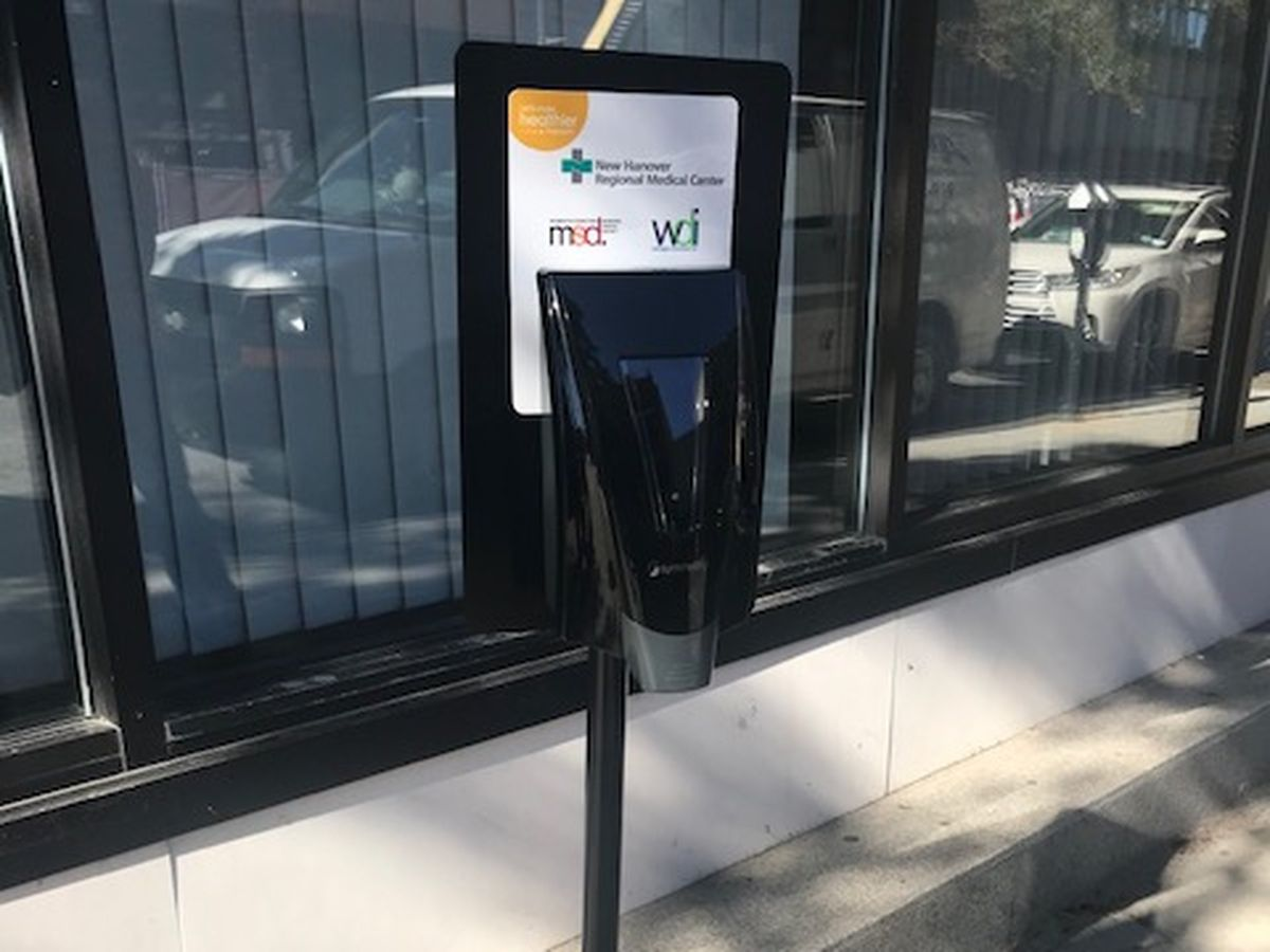 Hand sanitizing stations placed throughout downtown Wilmington