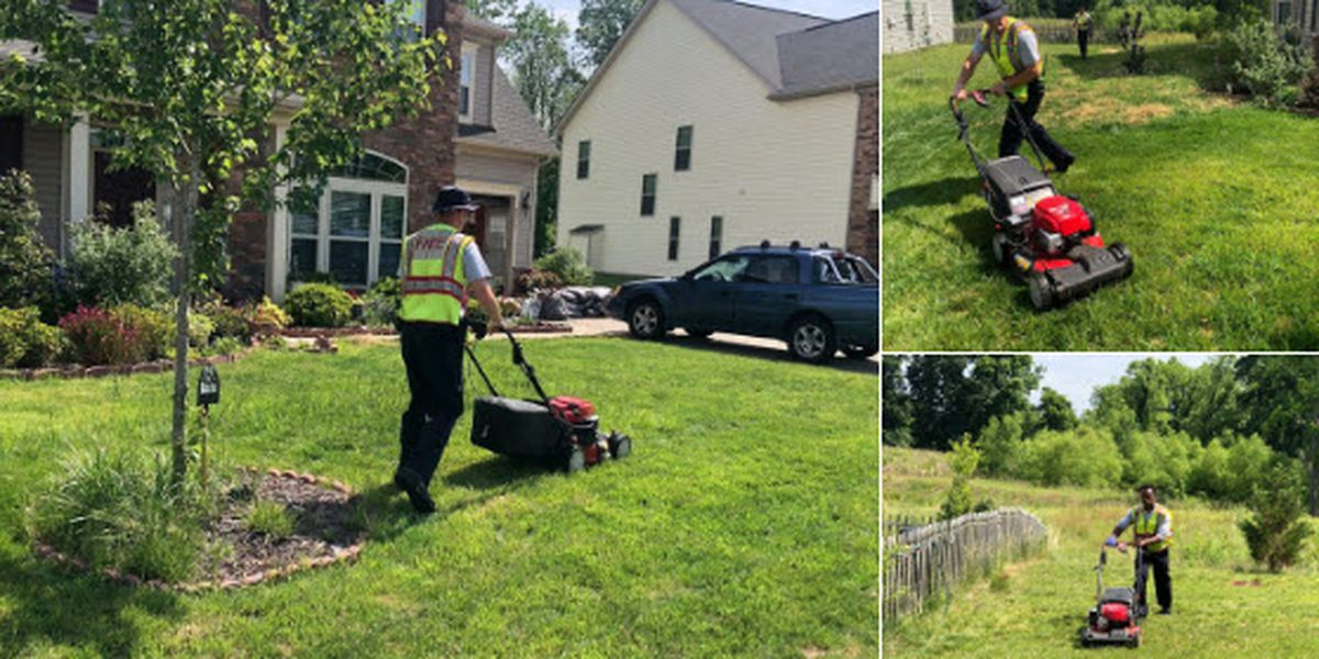 Firefighters stop to do yard work for elderly woman they see struggling with mower