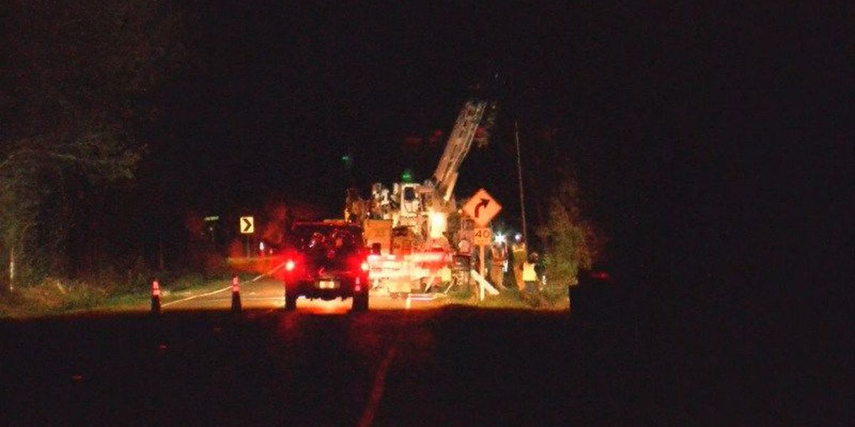 Crash takes down power lines in Pender County