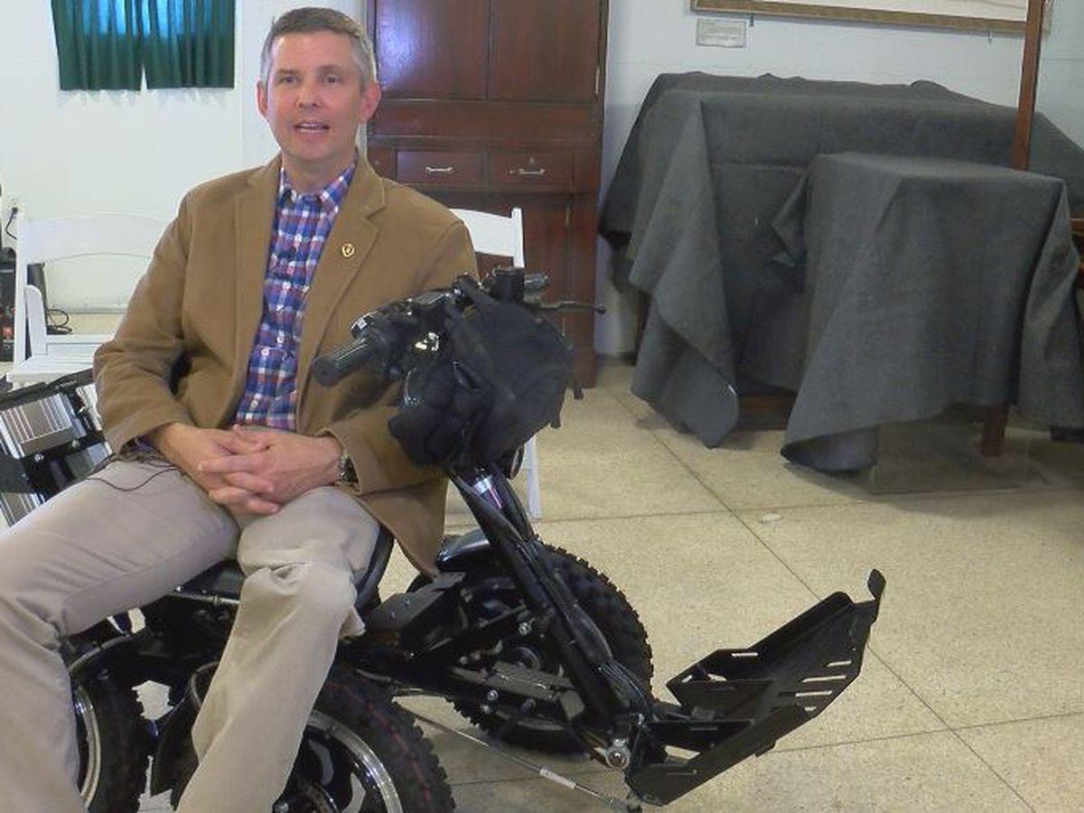 Disabled veteran receives new all-terrain wheelchair