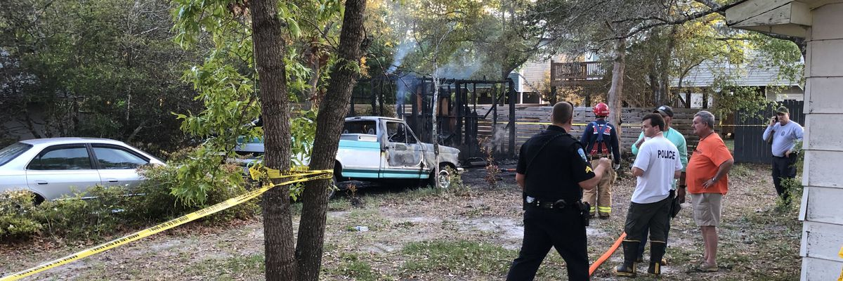 Body found in shed following fire at Oak Island home