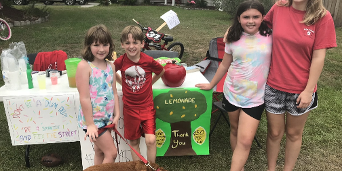 Potholes and pink lemonade: kids get creative to raise money to fix potholes on their street