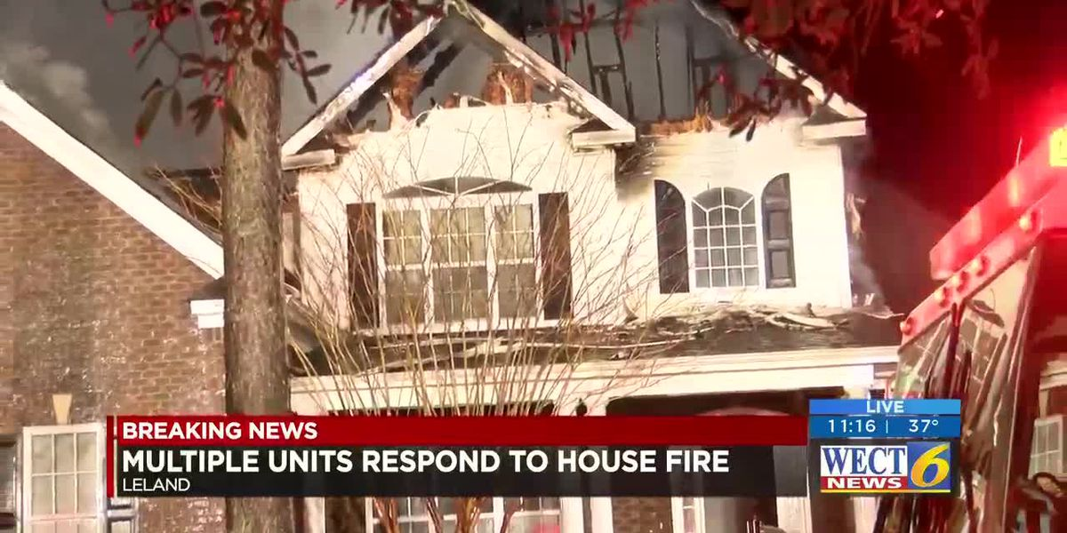 Family escapes Leland house fire with no injures, but home is a total loss