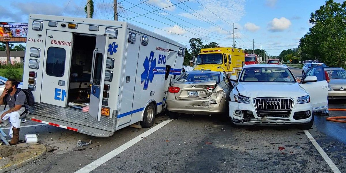 Brunswick County ambulance involved in crash with several cars