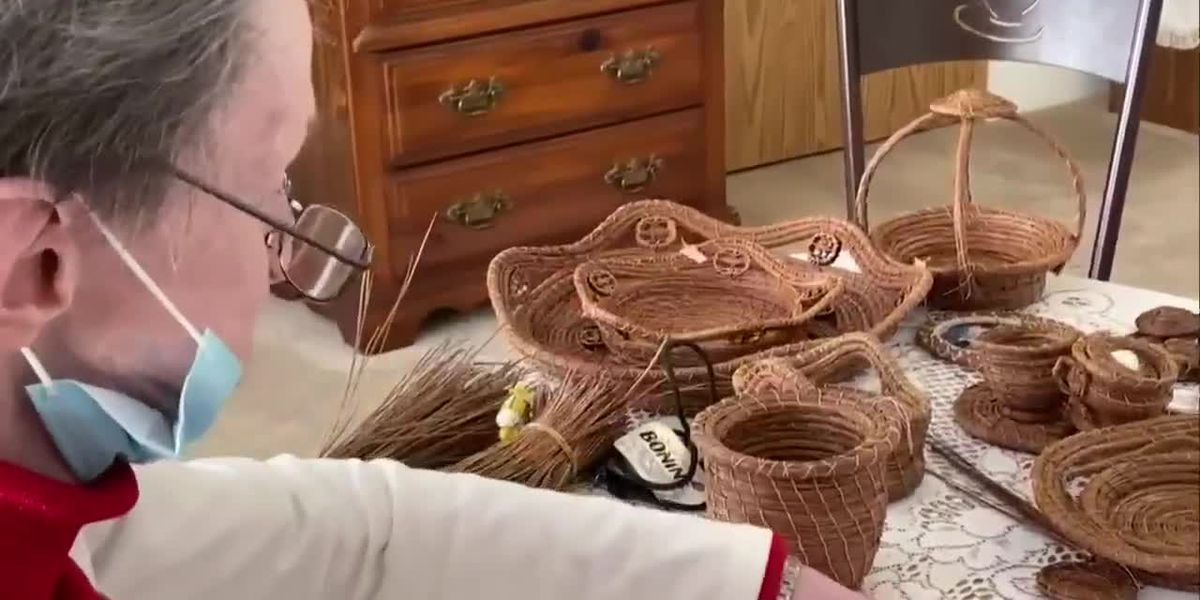 Independent living facility resident makes baskets from pine needles
