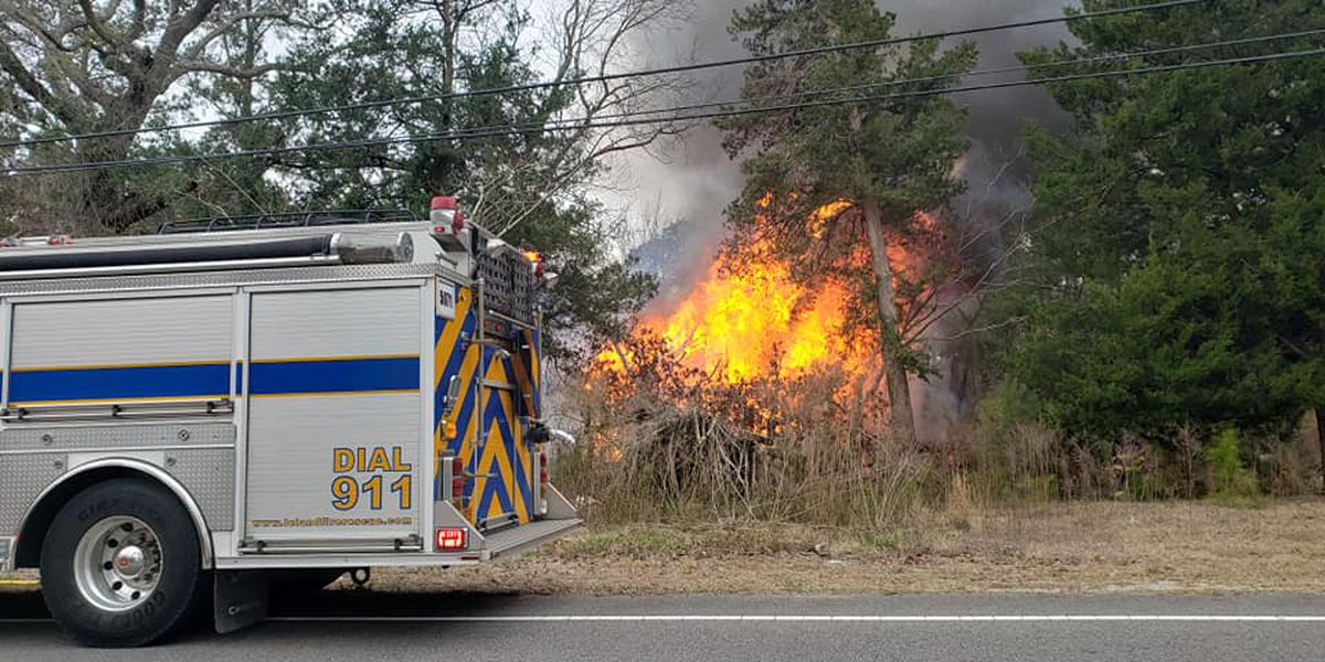 House fire shuts down section of River Road in Brunswick County
