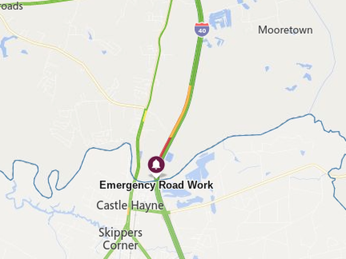 TRAFFIC ALERT: One lane of I-40 closed near Castle Hayne