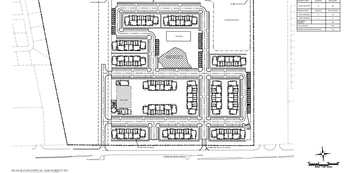 Developer looking to build large apartment complex along Carolina Beach Road