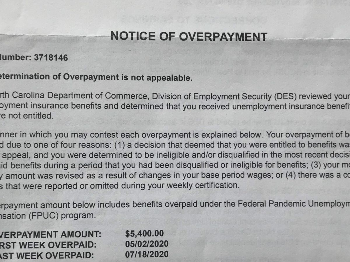 NC unemployment overpayment notices surprise, upset residents