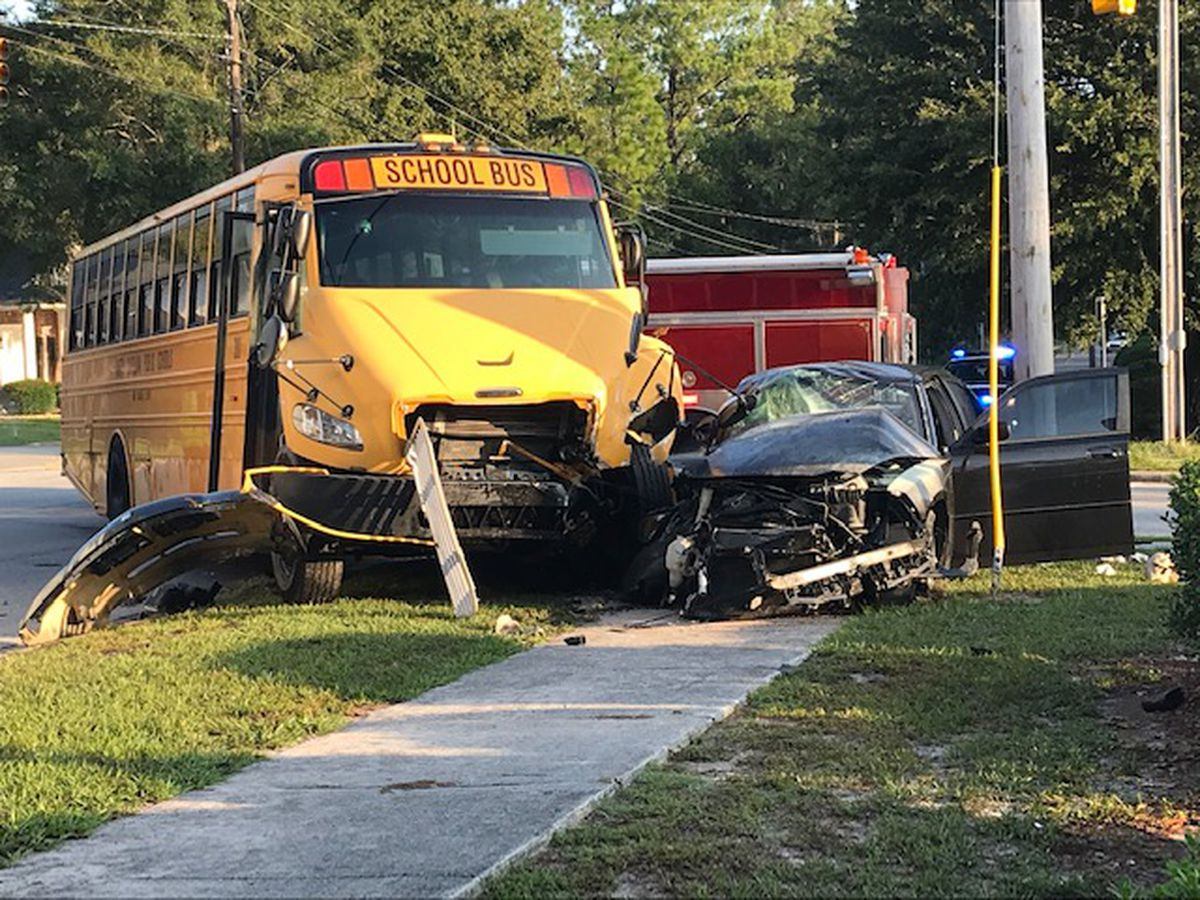 Multiple children taken to hospital after wreck involving school bus