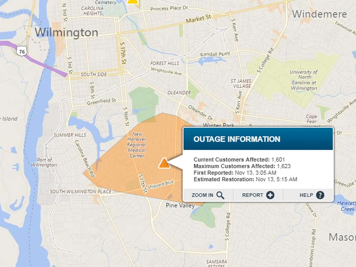 Power restored to 1,600 customers after three-hour outage