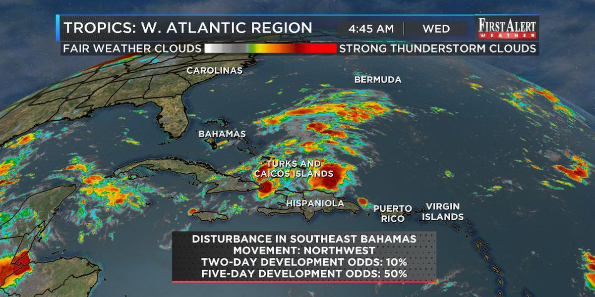 First Alert Forecast: bubble of dryness locally, tropics buzzing a bit