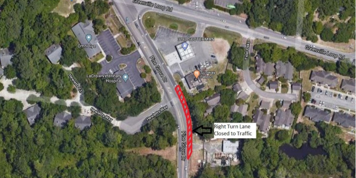 TRAFFIC ALERT: Portion of turn lane on Pine Grove Dr. to close for sewer work