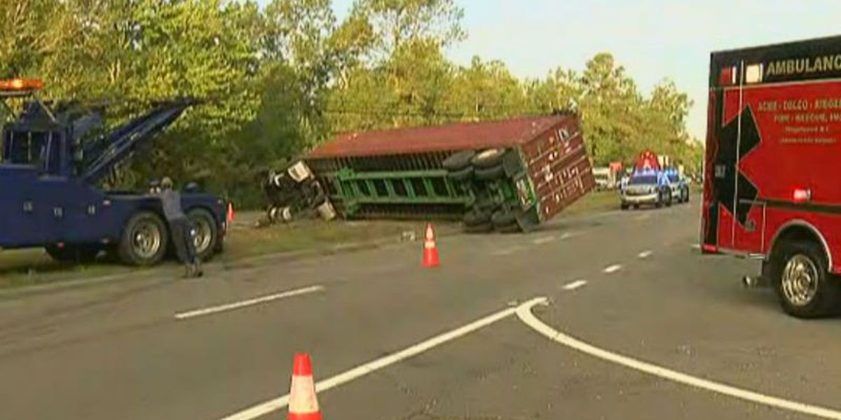 Overturned tractor trailer causing traffic backup on US 74/76 in Delco