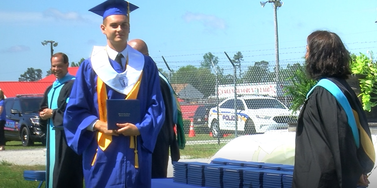 Whiteville seniors get traditional graduation with social distancing twist