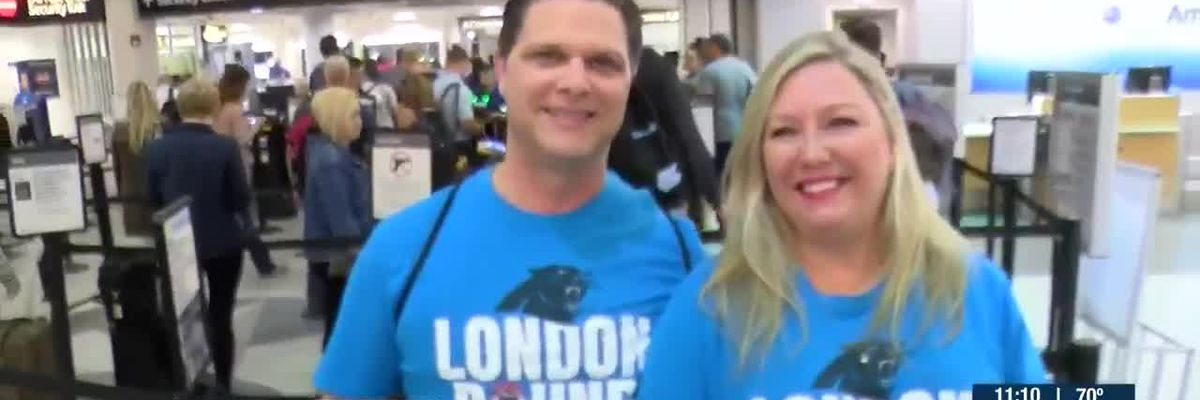 Carolina Panthers players, fans board planes for London football