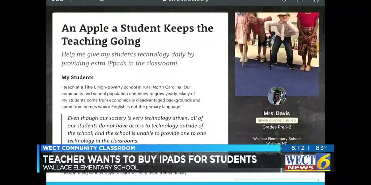 COMMUNITY CLASSROOM: Teacher needs iPads for students