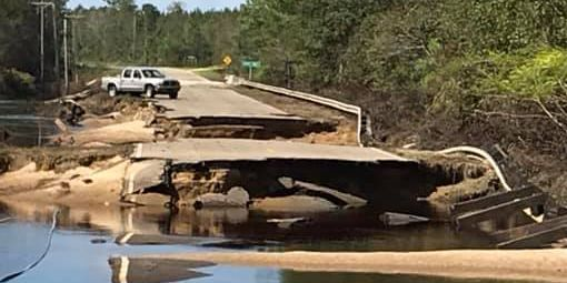 Road washed out near entrance to Moores Creek National Battlefield