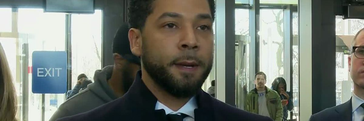 Jussie Smollett speaks at Cook County Courthouse