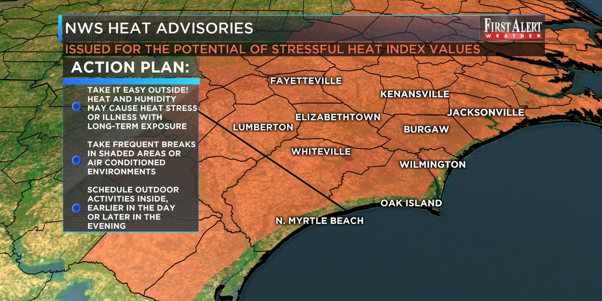 First Alert Forecast: Heat Advisory issued for Tuesday, tracking activity in the Tropics