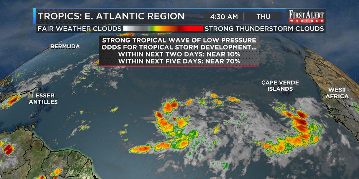 First Alert Forecast: scattered storms, tropical troubles