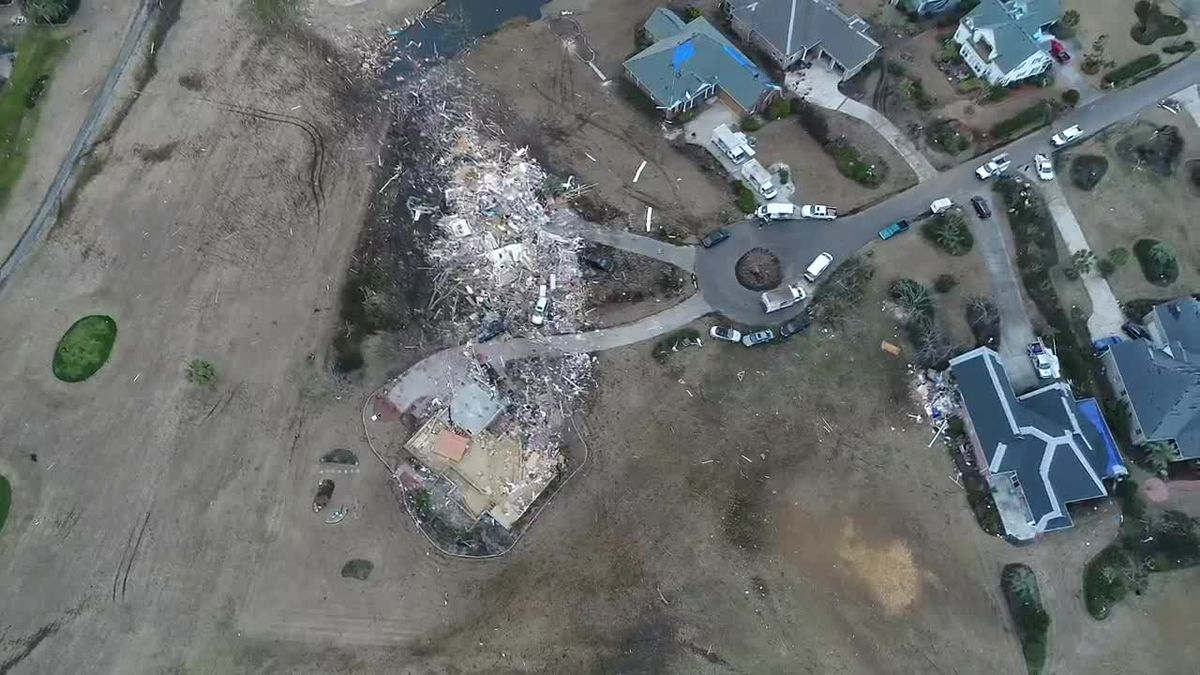 Drone video of the damage caused by deadly Brunswick Co. tornado (Source: Mickey Cochran)