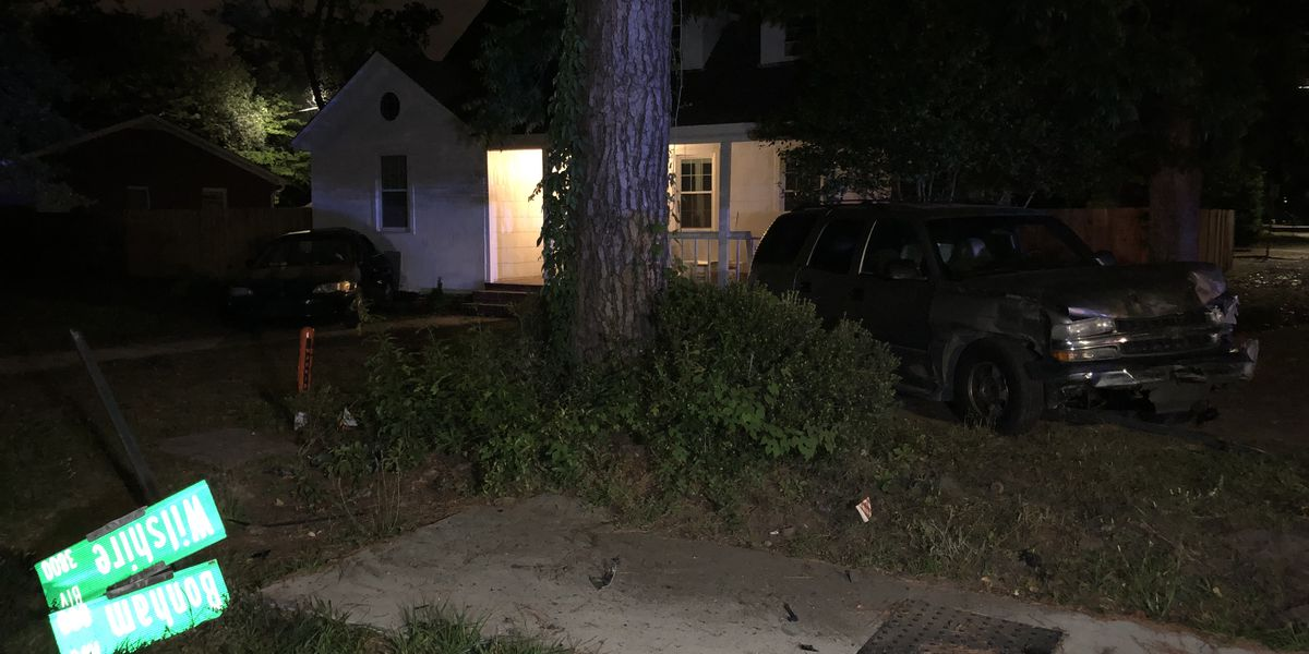 Car hits home after wreck in Wilmington